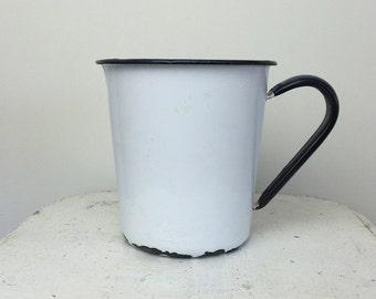 Vintage Enamel White Measuring Cup
