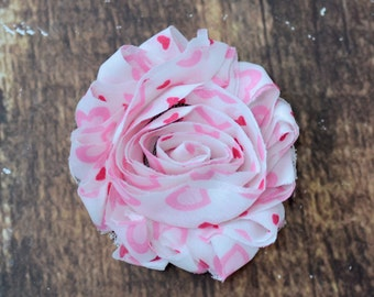 """2.5"""" Shabby Flower Trim Wholesale, Valentine's Day Flowers for Head Bands, By the yard, 1/2 yard or 2 flowers, White with Light Pink Hearts"""