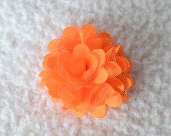 "Orange 2"" Satin Puff Flower, Wholesale Satin Flower Heads for Head Bands, Lot of 1, 2, 5 or 10"