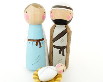 "Peg doll nativity trio // 3 1/2"" Mary, Joseph and 1 1/2"" baby Jesus peg // swaddle or manger // Christmas story decor // birth of Jesus"