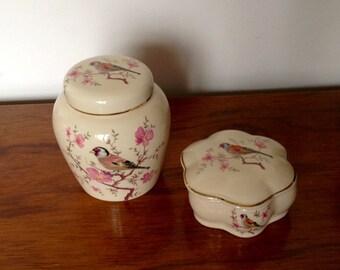 Royal Worcester Palissy Trinket Pots. Dressing Table Set.