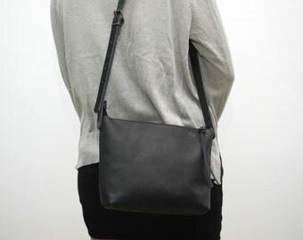 Leather messenger  bag ,black distressed color,black handles
