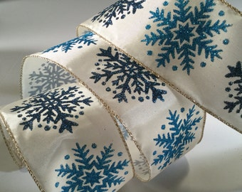 Blue Snowflake Ribbon, 5 yd Winter Snowflake Wired Ribbon for Crafts, Christmas Ribbon, Winter Decorating, Gift Wrap, Wreath Supplies