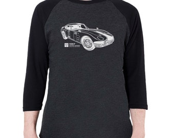 1967 Toyota 2000 GT Graphic printed on Men's American Apparel 3/4 Sleeve Baseball Shirt