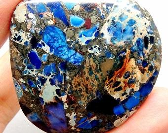 Blue Sea Sediment Jasper Pendant Bead, Blue Jasper Pendant, Blue Beads, Blue Gemstone Pendant, Blue Gemstone Pendant, Blue Stone Focal Bead