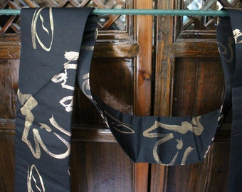 Price Reduced:  Black and Gold Japanese Obi