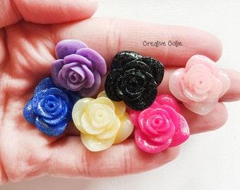6 Resin Rose Glitter Cabochon Flatback - 20mm
