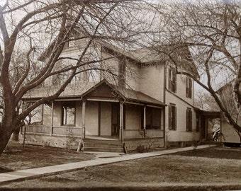 Front Porch Living // Vintage home vernacular photo // Antique landscape photo, house RPPC Americana home