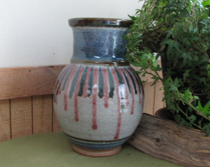 Vintage Walt Glass Art Pottery Gray Blue and Mauve Hand Thrown Vase American Potteries