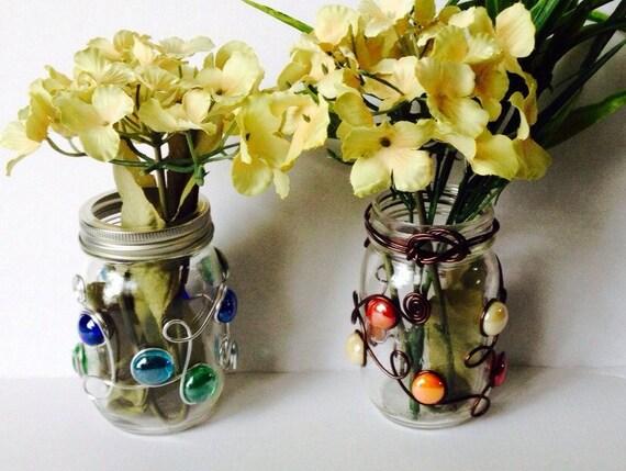 Mason Jar Flower Vase-Beaded Set of 10, Mason Jar Candle Holder, Wedding Centerpiece, Rustic Wedding, Bouquet Holder, Wire Wrapped,  Vase
