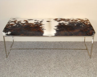cowhide bench, upholstered bench, stainless steel