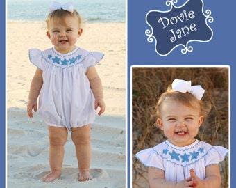 Starfish Angel Sleeve Bubble, Smock Bubble, Smocked Bubble, Beach Outfit, Beach Girl, Smocked Beach Outfit, Starfish Outfit, Starfish, Girls