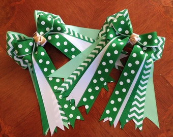Hair Bows for Horse Shows/Beautiful Green Chevron Equestrian Bows/Ready2Mail