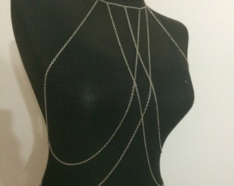silver body necklace, fashion jewelry, body chain jewelry, modern jewelry, gift idea, christmas gift mk*148