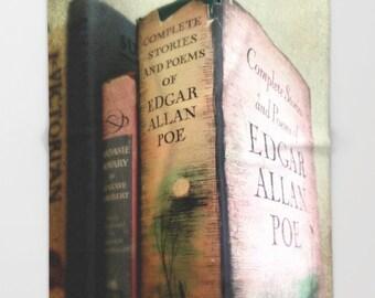 Pink Poe Throw Blanket: bedding, throw blanket, fleece, goth, Victorian, pink, gray, home decor, books, library