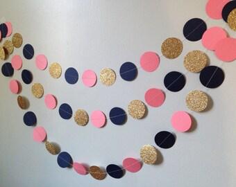 Gold glitter, pink/coral, navy blue circle paper garland, baby shower bridal shower birthday party wedding