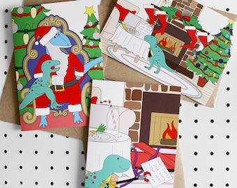 T-Rex-Mas Dinosaur Christmas Greeting Card Pack