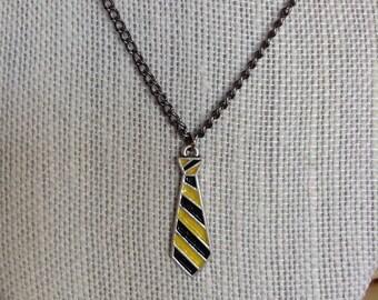 Hufflepuff Tie Necklace, Hufflepuff Jewelry, Helga Hufflepuff, Harry Potter, Hogwarts, Yellow and Black, Hufflepuff