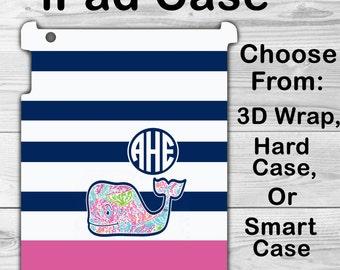 Monogram iPad Mini 1/2/3/4 Case Personalized iPad Air 1/2 VV Whale Striped Lilly iPad 2/3/4 Smart Case, iPad Pro 9.7 inch, 3D Case #2608