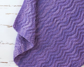 textured chevron baby blanket // hand-knit throw // purple color