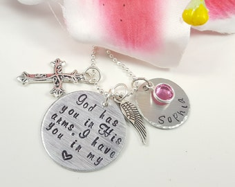 Memorial Necklace God Has You In His Arms I Have You In My Heart Hand Stamped Remembrance Jewelry Sympathy Gift