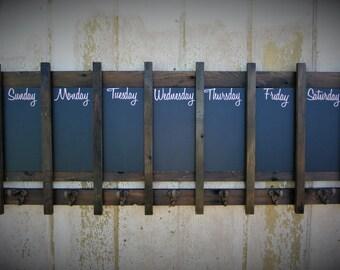 Custom Coat Rack Chalkboard Calendar Message Center Hat Hanger Rustic Coat hooks MADE TO ORDER Jacket rack chalkboard decor rustic wood memo