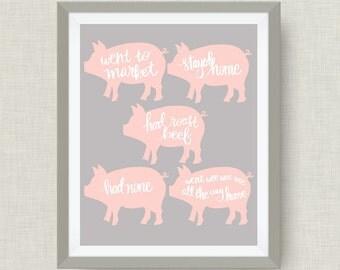 This Little Piggy- Custom Nursery Art - Pick your colors!