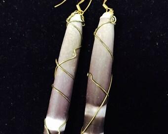 Sea urchin spine wire wrapped earrings