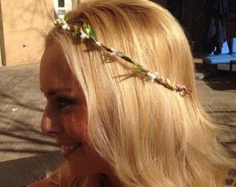 Boho flower crown. Woodland Floral headband. simple bridal crown. Bridesmaid flower crown. Rustic wedding. Boho flower accessory.