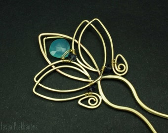Hair stick. Brass comb. Wire wrapped hair stick. Chalcedony stick. Hair pin. Hair Accessories.