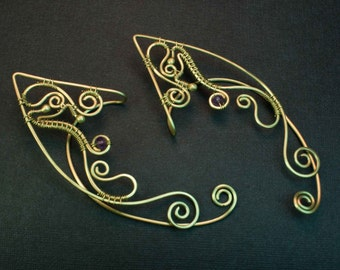 Elven ear cuffs, Amethyst cuffs, Wire wrapped ear cuffs, Elf ear cuffs, Wire ear cuffs, Fantasy jewelry