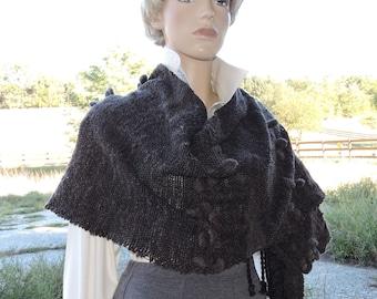 Handwoven Modernistic Charcoal Gray/Black Saori Art Wrap Shawl from Merino Wool * ELEGANT BASICS