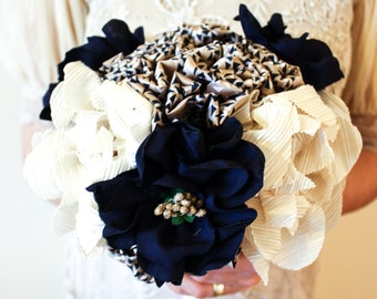 Fabric flower wedding bouquet - Navy & Gold - fabric flowers, brides bouquet, navy , gold, fabric, fabric bouquet, bespoke