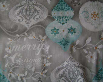 Traditional Icy Blue Christmas Cotton Fabric Sold by the Yard