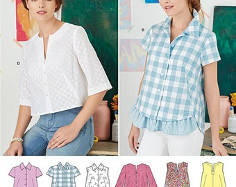 Simplicity Pattern 8090 Misses' Button Up Shirt and Pullover Top