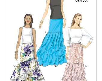 Vogue Pattern V9163 Misses' Fl-Length Tiered Skirts