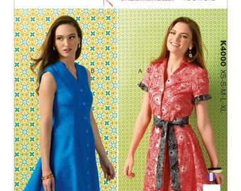 Kwik Sew Pattern K4000 Misses' Princess Seam Shirtdresses and Belt