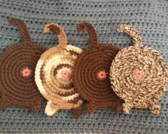 Crochet cat butt coasters - set of 4