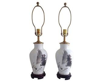 Porcelain Cranes Lamps, Pair