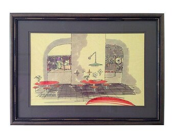 Framed Midcentury Architectural Drawing