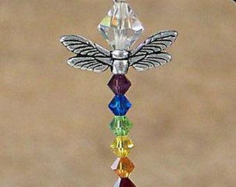 Swarovski Crystal Elements Dragonfly Chakra Pendant Necklace