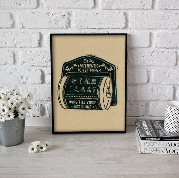 Vintage Inspired Lincout Poster Toilet Paper Linocut Print Handmade
