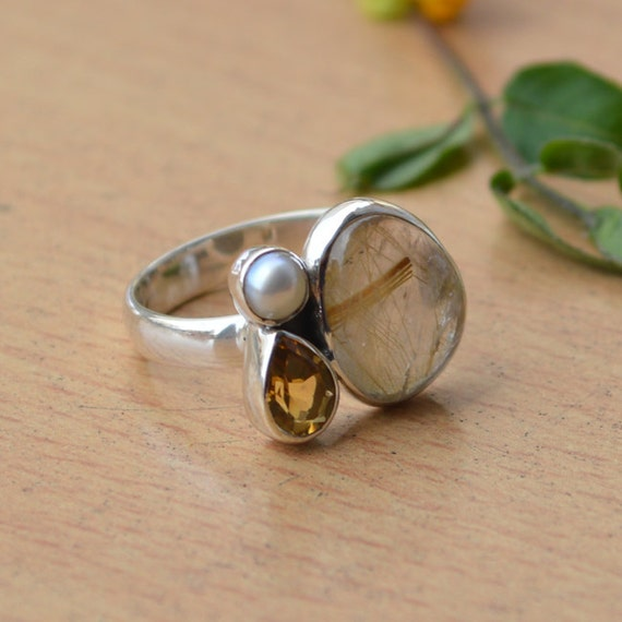 African Golden Yellow Rutile Quartz Ring,  Citrine, South Sea Pearl Solid 925 Sterling Silver Ring, November Birthstone Ring  Gift Jewelry