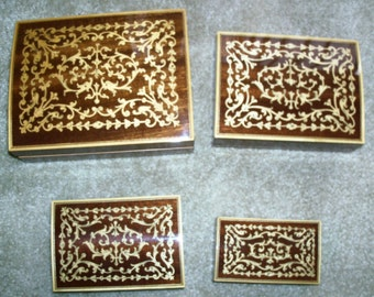 Reduced:  Vintage Set of 4 Nesting Boxes Handcrafted with  Fine Inlaid Marquetry Design made in Italy
