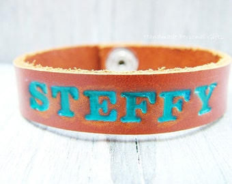 Leather Bracelet, name bracelet, name, text, bracelet.