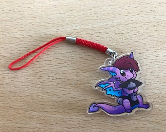 Dragon holding puppy phone charm or keyring