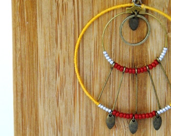 """Necklace Medallion """"Painting"""" Red Ochre - yellow ochre"""