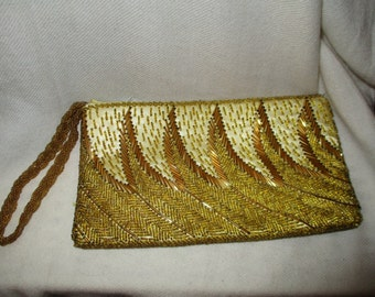 Vintage beaded gold wristle/clutch