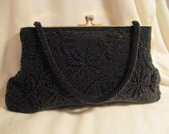 vintage black beaded evening bag/clutch