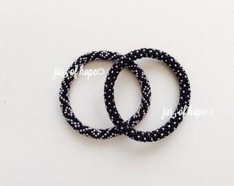 Nepal Beaded Roll On Bracelets Set of 2 Gift Black Silver Dots